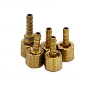 Acetylene Regulator Hose Nipple – Gold, 1/4 Inch