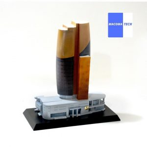 Built a 3D model of a building. The structure was built using resin, then spray painted to achieve the desired look.